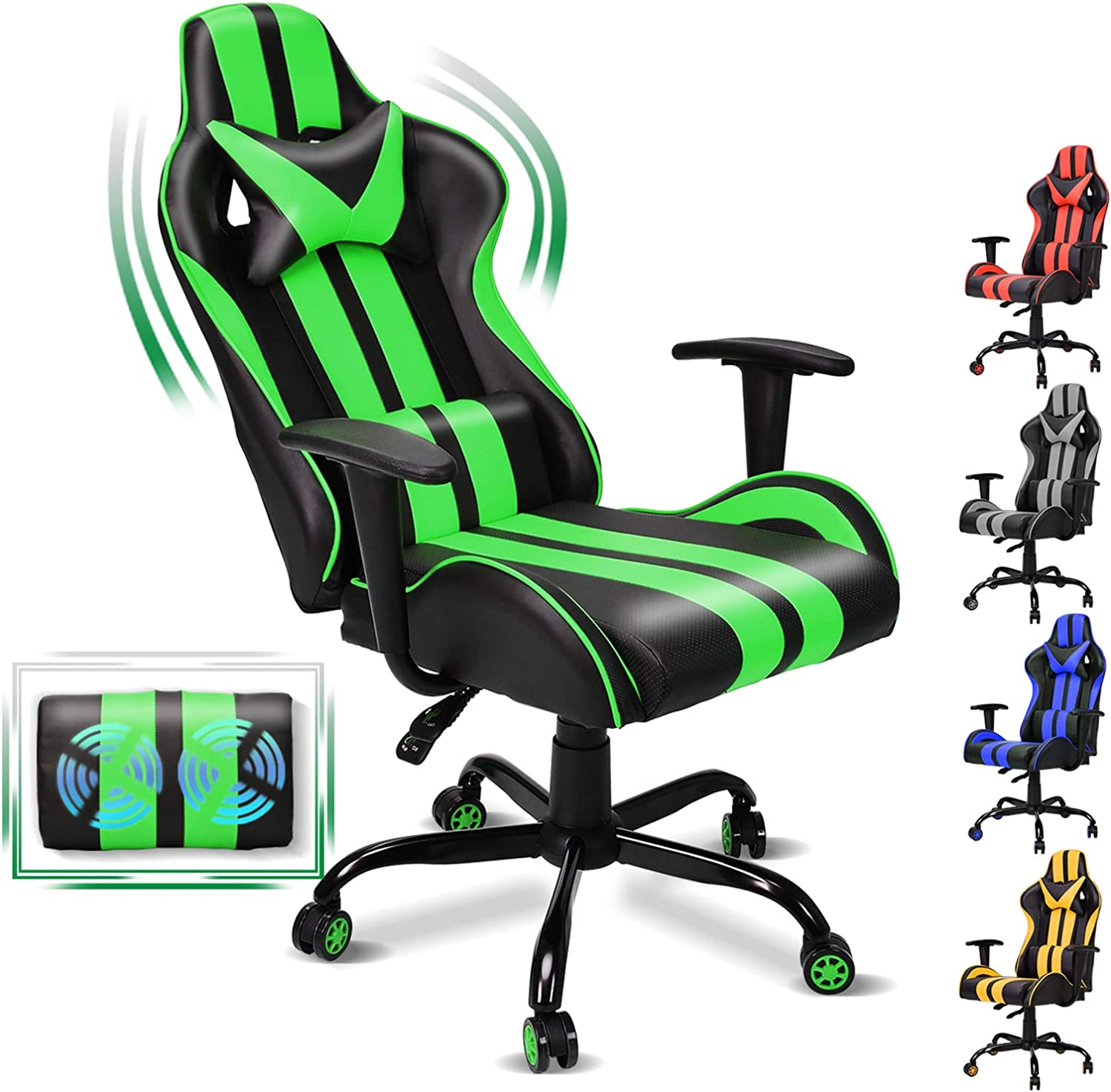 FERGHANA Video Gaming Chair, Massage Gaming Chair, E-Sports Racing Chair with Height and Reliner Adjustment,Headrest and Massage Lumbar Support(Gaming Green)