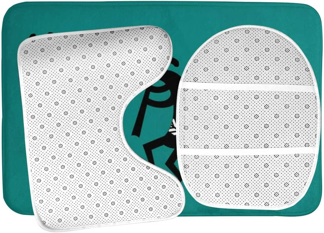 DING Teal and Black Kokopelli Southwest Soft Comfort Flannel Bathroom Mats Non-Slip Absorbent Toilet Seat Cover Bath Mat Lid Cover,3pcs//Set Rugs