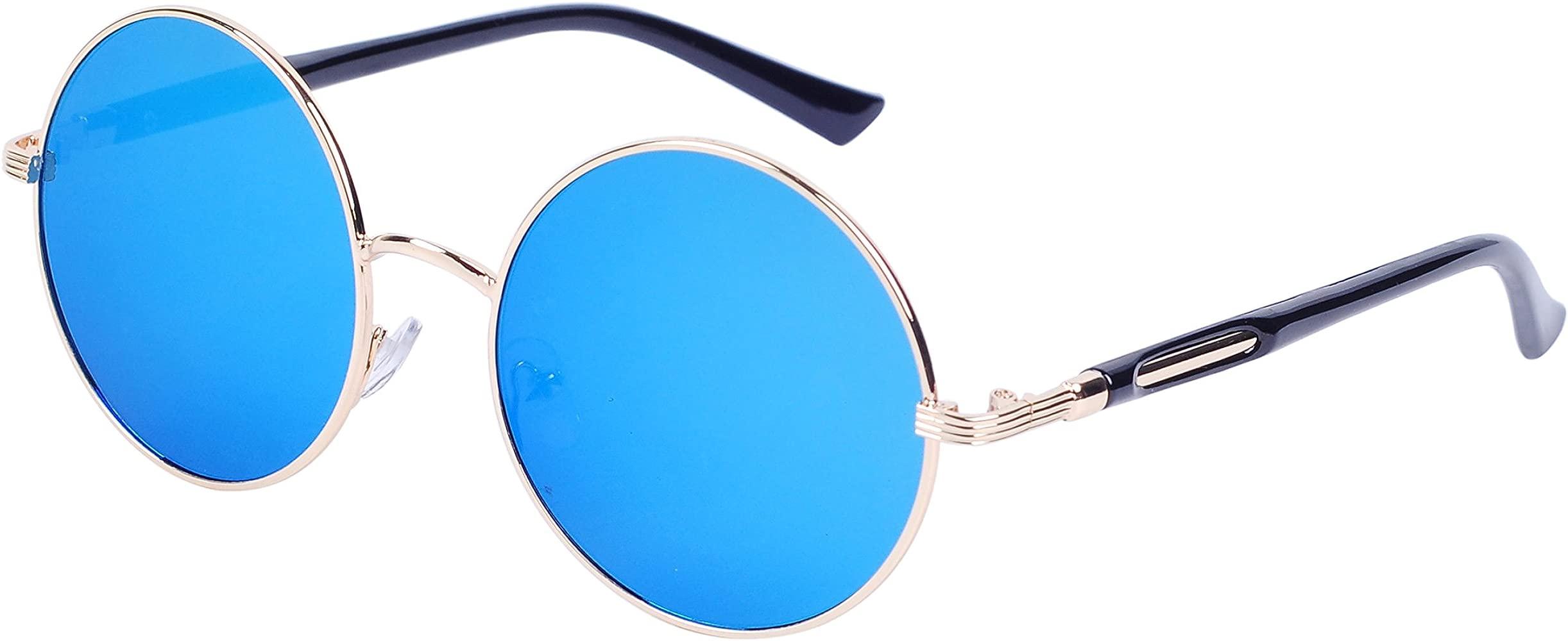Qixuan QIXU Gafas de Sol Redondas Mujer Lente Efecto Espejo Antirreflejante UV400 Vintage Retro Inspirado Círculo Metálico con el Caso
