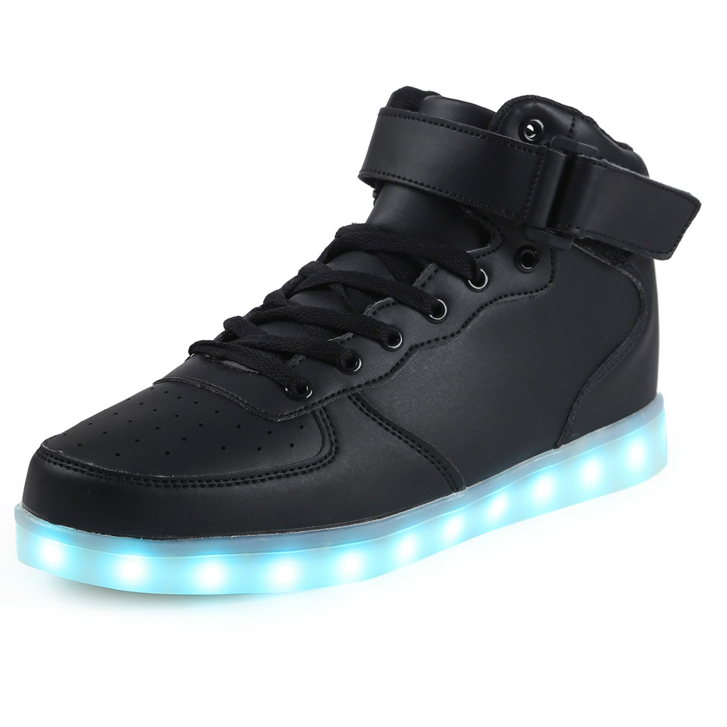 Topteck Mens High Tops Light up Shoes Funny Male LED Flashing Sneakers with Lights Adult Tennis Boots, Black