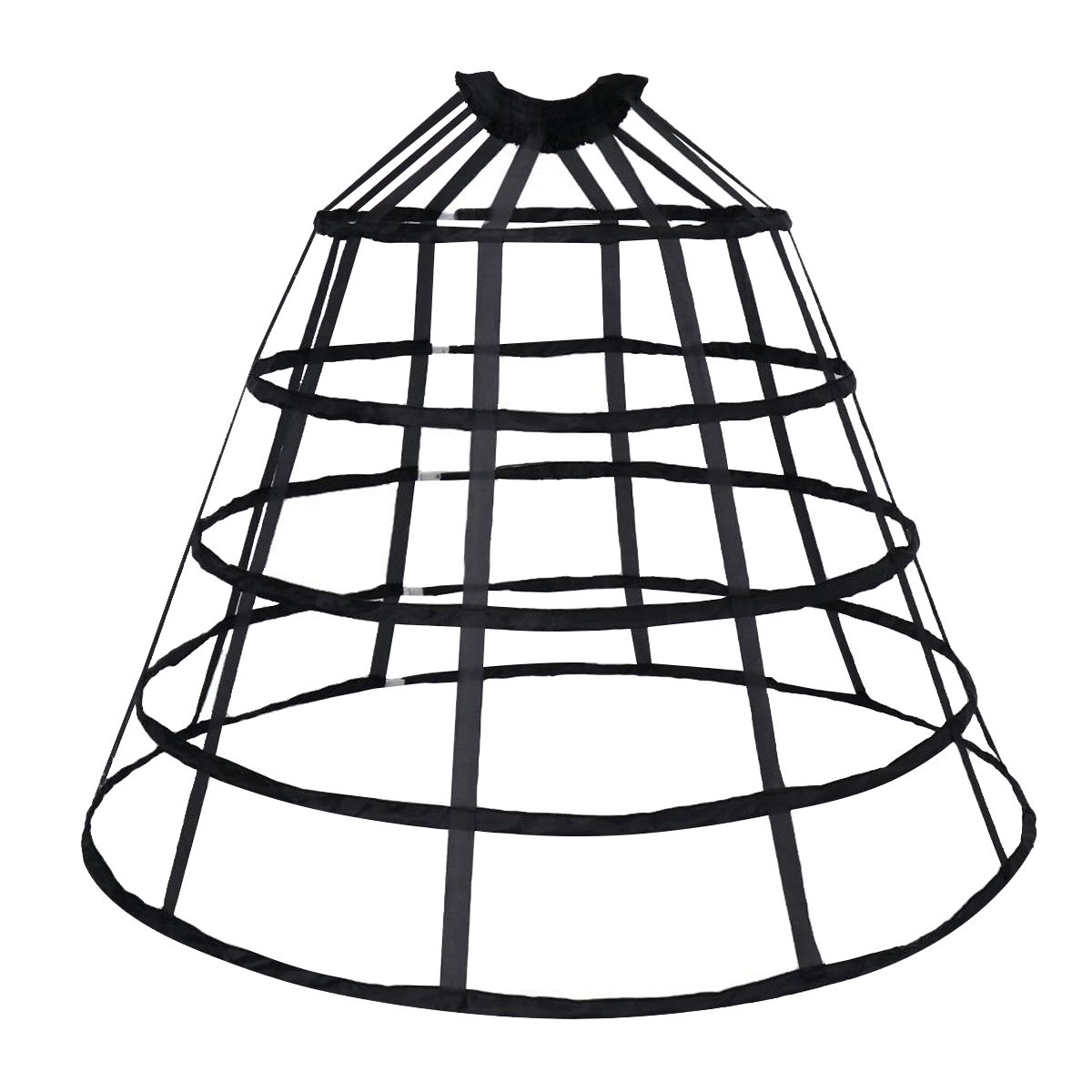 bf8a23c145a HappyStory Crinoline cage Hoop Skirt Pannier 5 Rows Elastic Waist Simple  cage (Black 5 Hoops)  Amazon.ca  Clothing   Accessories