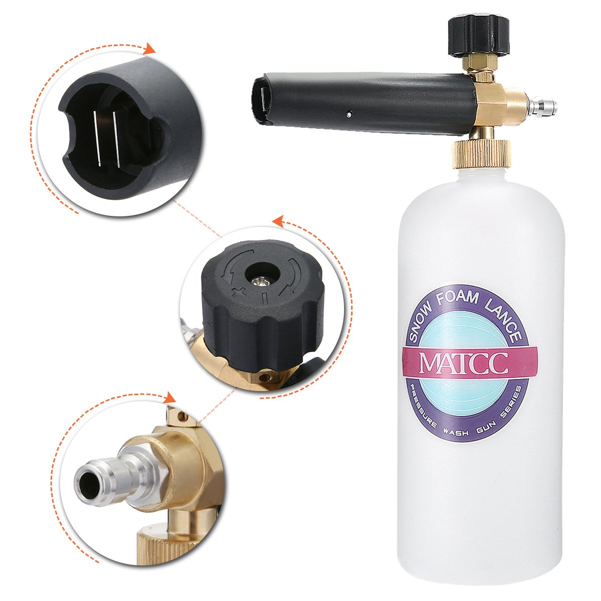MATCC Adjustable Foam Cannon I Liter Bottle Snow Foam Lance With 1/4'' Quick Connector Foam Blaster for Pressure Washer Gun by MATCC (Image #3)