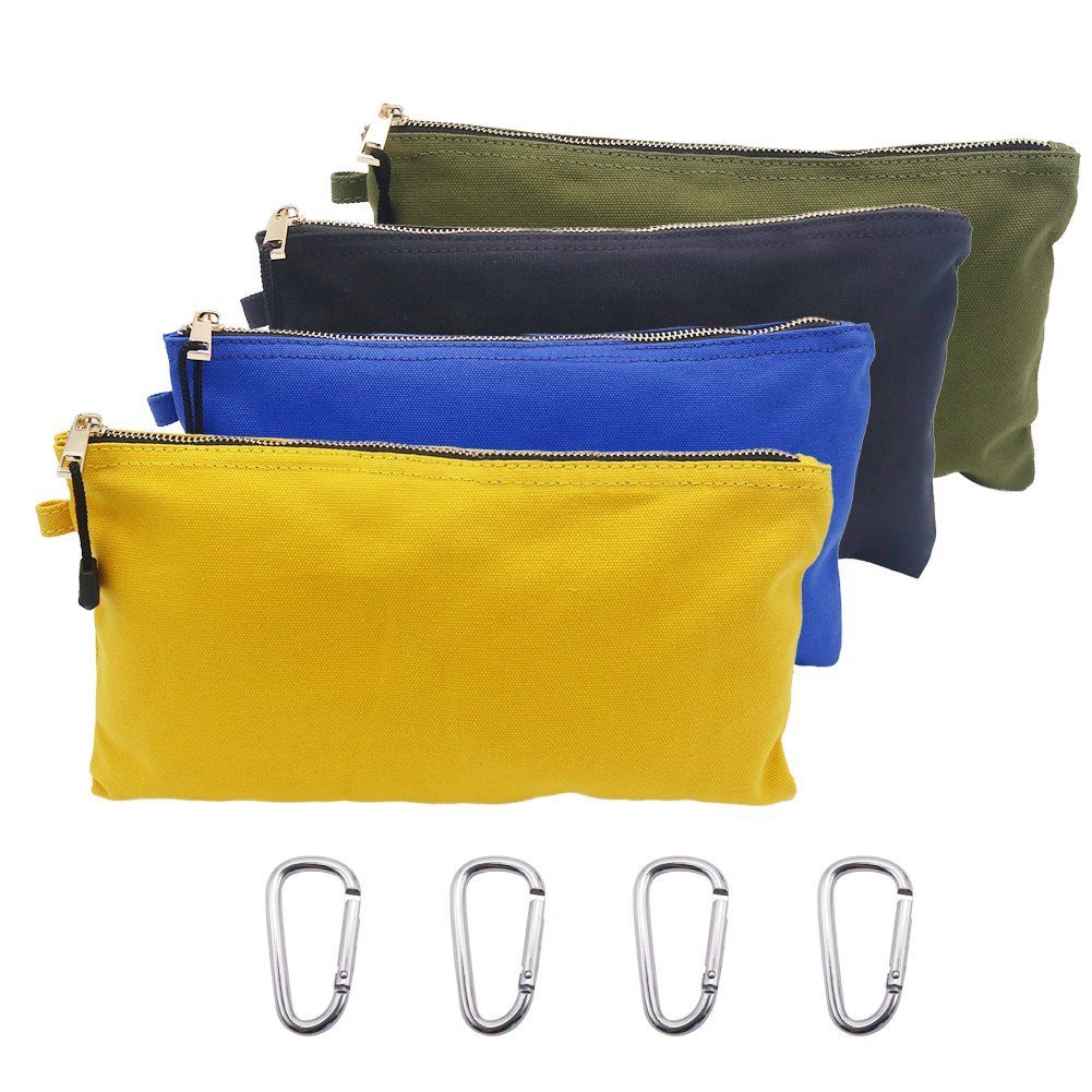Tenn Well Canvas Tool Pouches, Pack of 4 Utility Tool Bags with Zipper Carabiner for Hand Tools Electronic Gear Toiletries