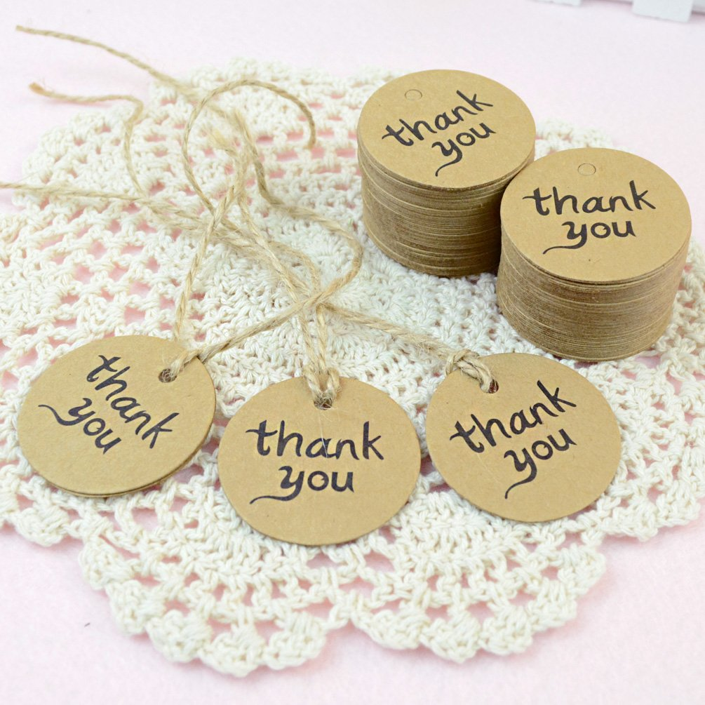 Amazon Dxhycc 100PCS Thank You Wedding Brown Kraft Paper Tag Gifts Papers Favor Gift Tags With Jute Twines Health Personal Care