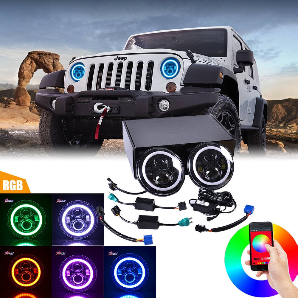 "Amazon.com: TheOne 7"" LED Headlights Bulb RGB Halo Angel Eye with Bluetooth  Remote for 1997~2017 Jeep Wrangler JK LJ CJ Hummer H1 H2 Headlamp Driving  Light: ..."