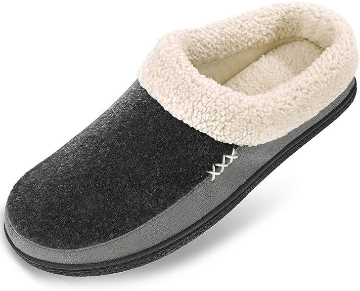 SOFTWAVES Women/'s house shoes slippers clogs felt slippers dark grey