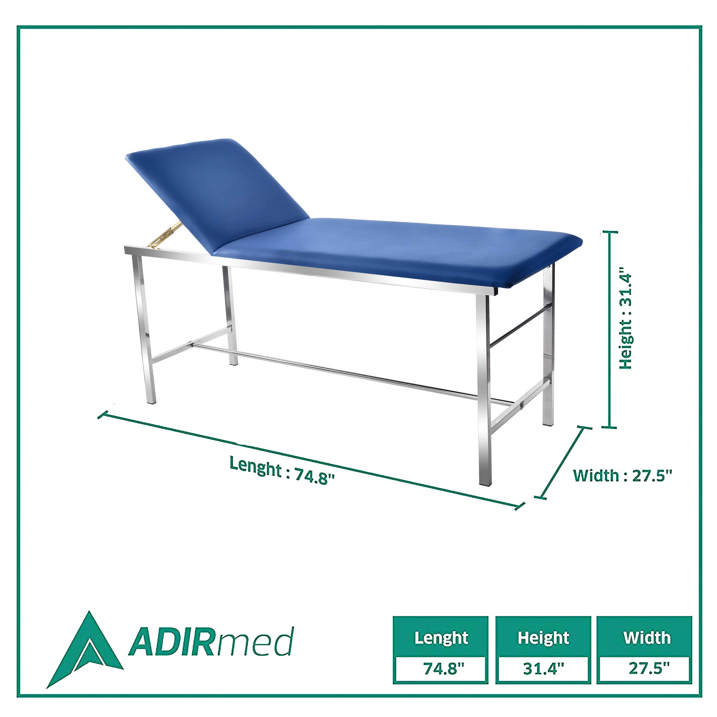 "AdirMed Reliable & Comfortable Medical Exam Table - Built In Paper Towel  Dispenser - Durable 2"" Foam Padding - Powder Coated Steel Frame -"