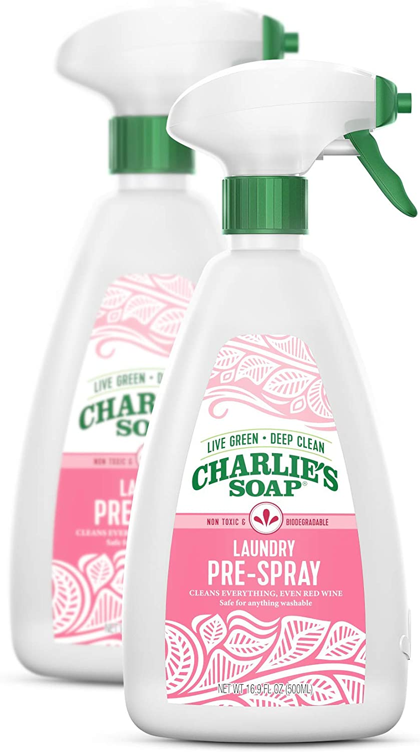 Charlie's Soap Laundry Pre-Spray (16 Fl. Oz, 2 Pack) Natural Laundry Pretreat and Stain Remover – Powerful, Non-Toxic and Eco-Friendly