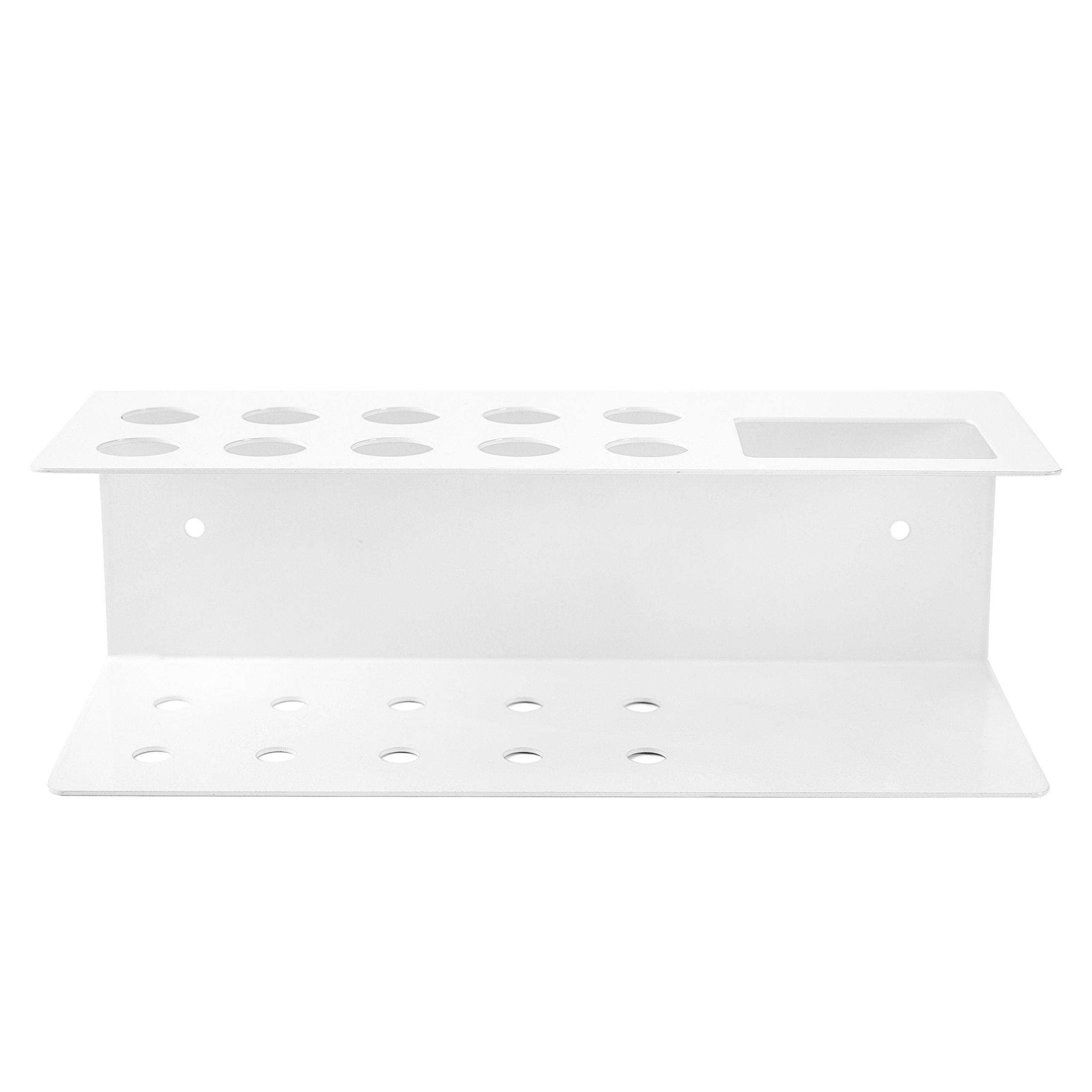 10-Slot Wall-Mounted Metal Dry Erase Marker and Eraser Holder Rack, White by MyGift (Image #4)