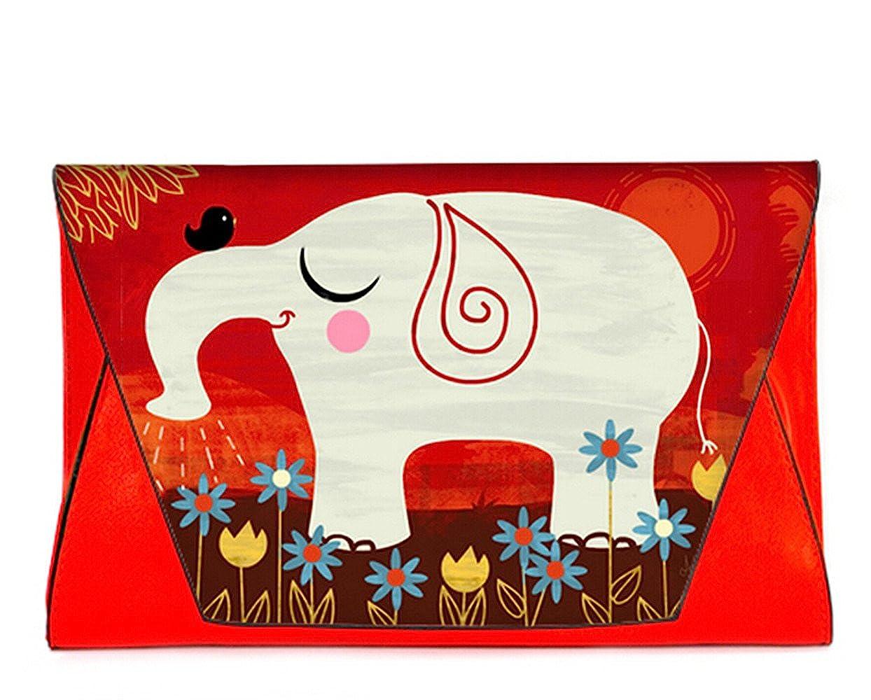 Fashion Leather Female Envelope Bag Clutch Handbags with Elephants Pattern