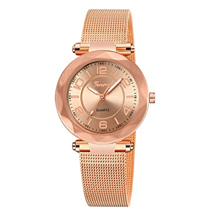 naivety Vintage Ladies Watch Luxury Female Stainless Steel Mesh Quartz Wrist Watch Rose Gold Women Watches