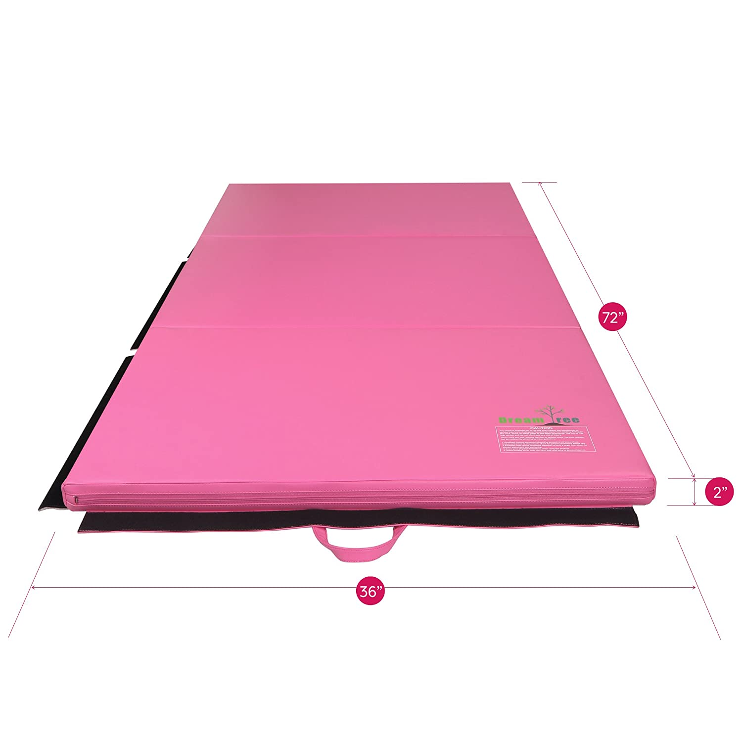 3 x 6 Tri Folding Tumbling Mats with Carrying Handles for Home /& Gym Execise Workout Pink Best Price Mattress Dream Tree Gymnastics Mat