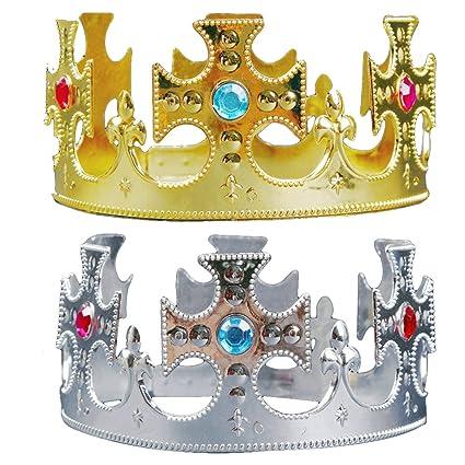 LUOEM 2 Unids Cumpleaños Tiara Princesa Príncipe Corona Sombreros Kids  Party Favors Suministros Decoración  ( a6420527b35b