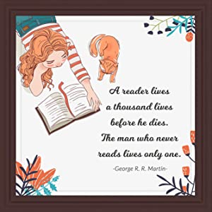 Gifts for Readers | 7x7 Tile Artwork Special for Reading Lovers | Ideal Present for Reader or Librarian | Bookworms Inspired Art for Men or Women | Bookworm Gift for Home, Office or Club Decor