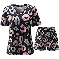 Lady's Elegant v-Neck Short Sleeve Floral Print Jacket and Shorts Suit