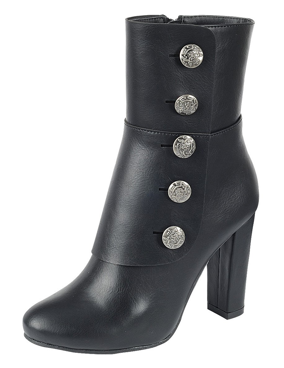 Cambridge Select Women's Steampunk Victorian Button Chunky Heel Ankle Boot (8 B(M) US, Black)