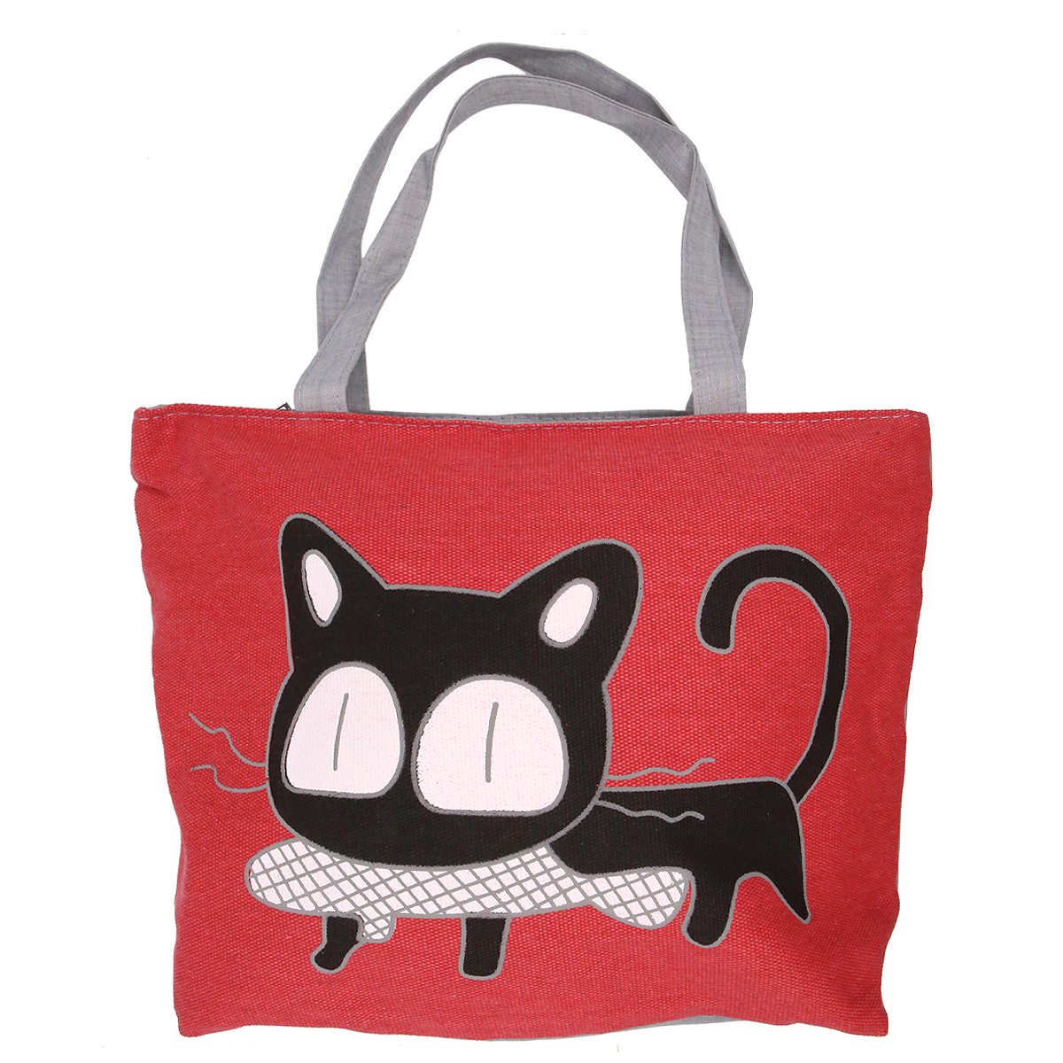 45945dd0fa8e Cute Cat Handbag Large Canvas Tote Bag Reusable Grocery Beach Bag Shopping  Bag With Zipper For Women And Girls(Red)