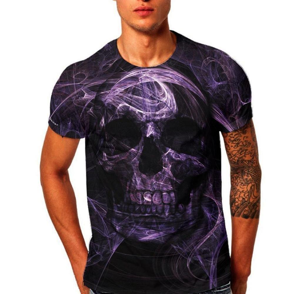 VENMO Camisetas Hombre Camisas Hombre,Tops Hombre,Blusa Hombre,Hombres Slim Fit Camisetas,Casual Camiseta de Manga Corta de Impresión 3D Skull Hombre Verano