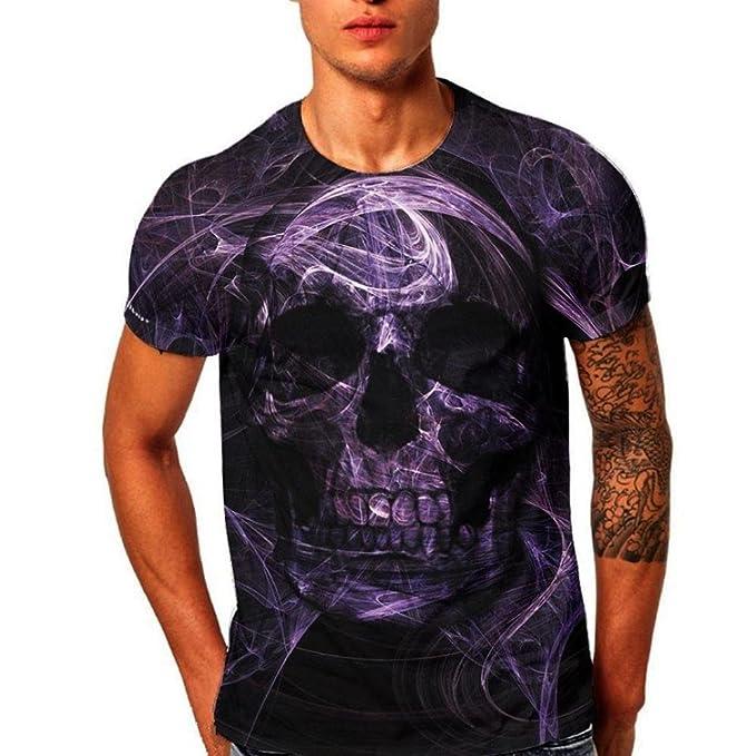 VENMO Camisetas Hombre, Camisas Hombre, Tops Hombre, Blusa Hombre, Hombres Slim Fit Camisetas, Casual Camiseta de Manga Corta de impresión 3D Skull Hombre ...
