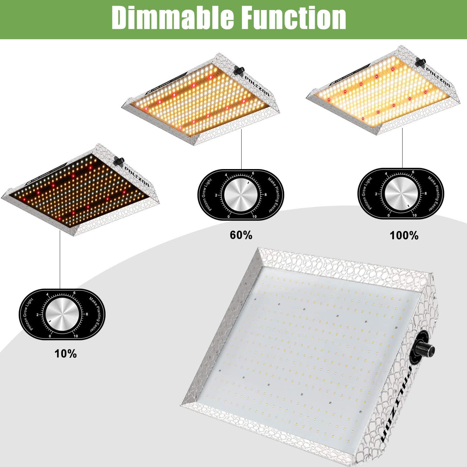 Phlizon Upgrading 600W Dimmable Led Grow Light with Grow Tent 43x24x60