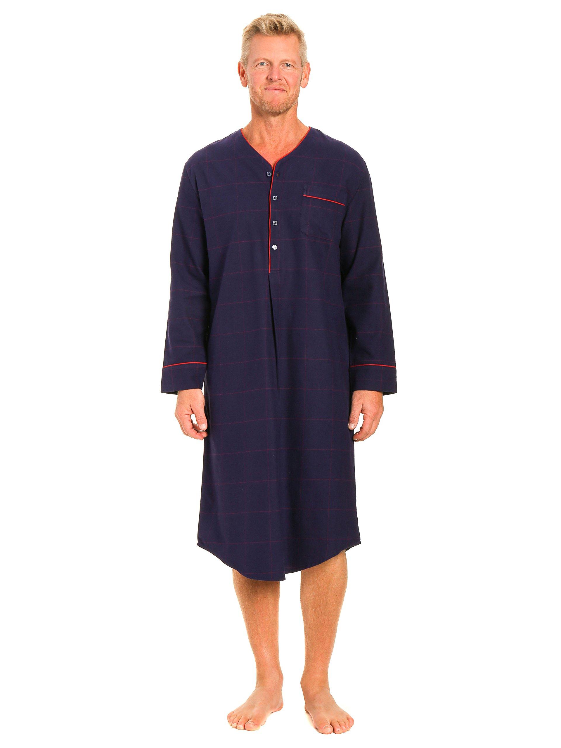 Noble Mount Men's Flannel Nightshirt - Windowpane Checks Blue/Red - Large