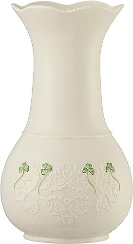 Belleek 4350 Shamrock Lace Vase, 10-Inch, White