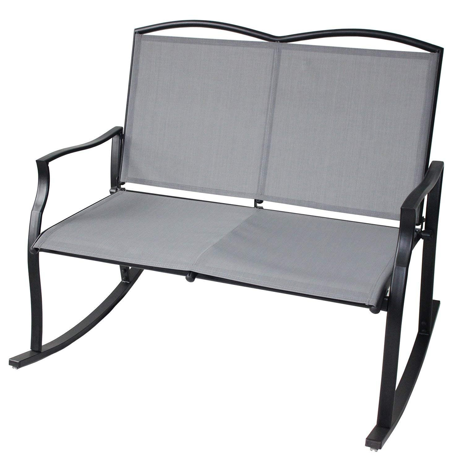 UNICOO - Patio Loveseat Bench, Garden Loveseat, Sling Rocking Chair, Glider Swing Rocking Chair with Steel Frame for 2 Persons