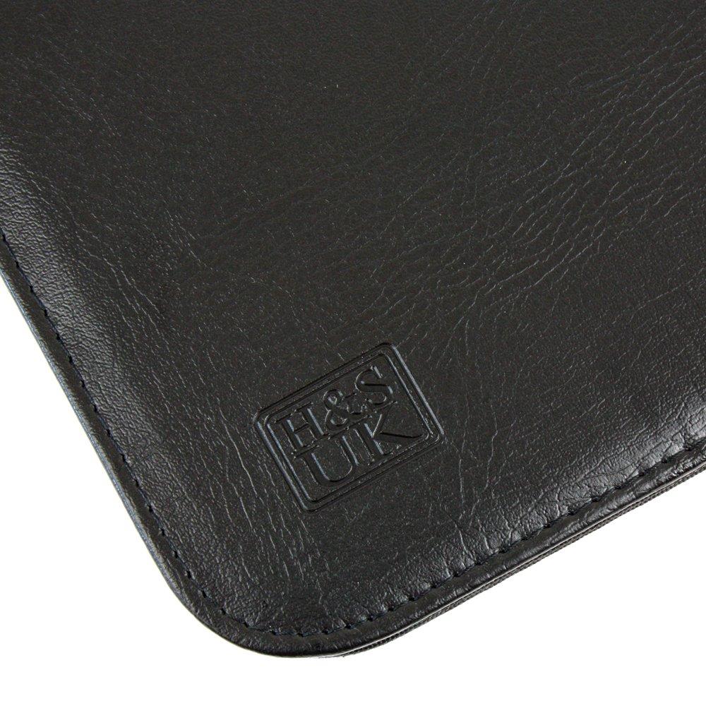 Carpeta de conferencia A4 H/&S Carpeta Portadocumentos A4 Color negro Con cremallera y confeccionada en piel PU Portafolio