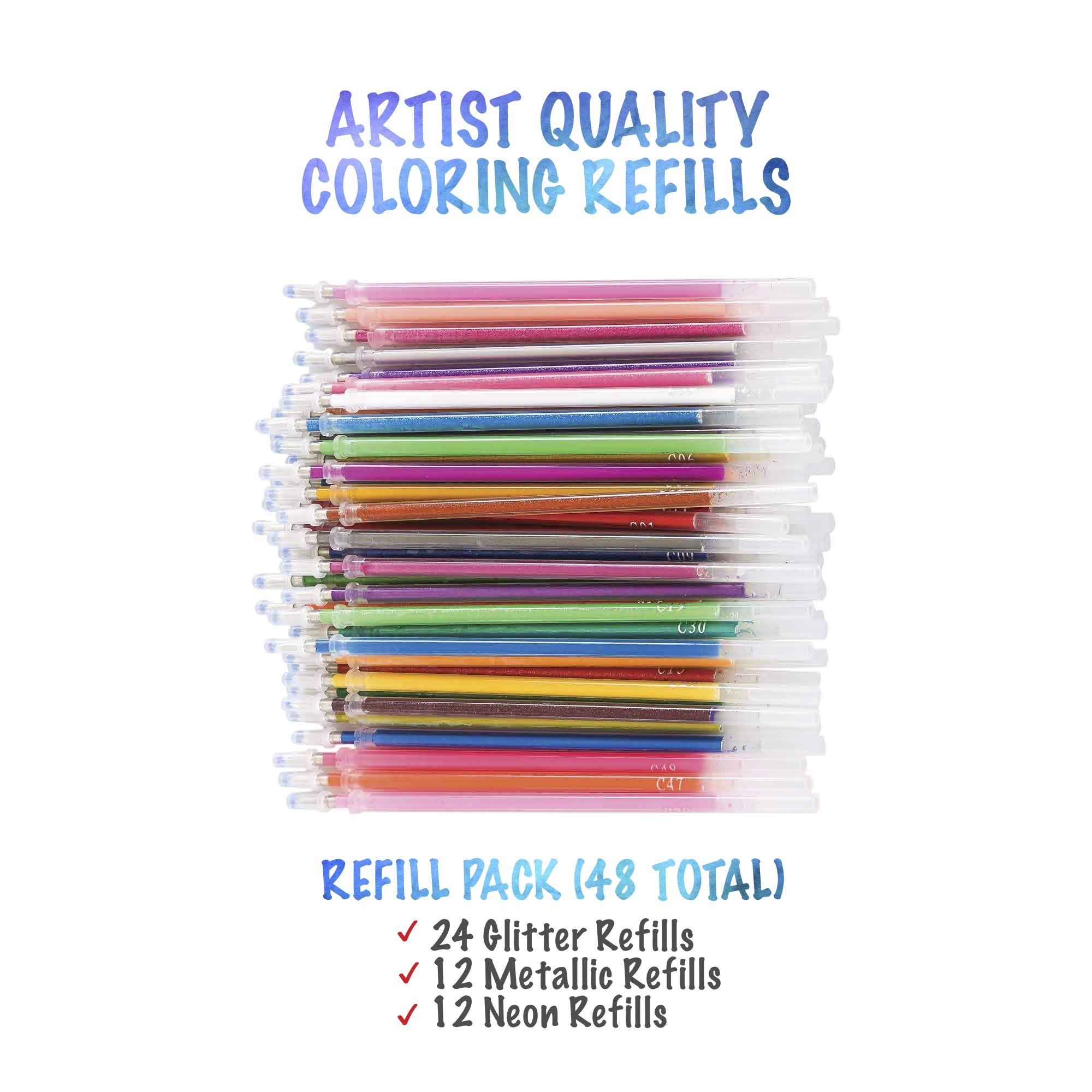 myPALETTEUS 96 Color Gel Pens for Adult Coloring Books- Ink Gel Pens Set with UPGRAGED Case Includes 48 Artist Coloring Pens: 24 Glitter 12 Metallic 12 Neon Plus 48 Refills Bonus Adult Coloring Book by myPALETTEUS (Image #2)