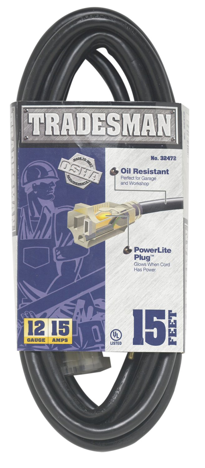 Woods 32472 12/3 15-Foot SJTOW Heavy Duty Lighted Extension Cord For Indoor/Outdoor Use, Black