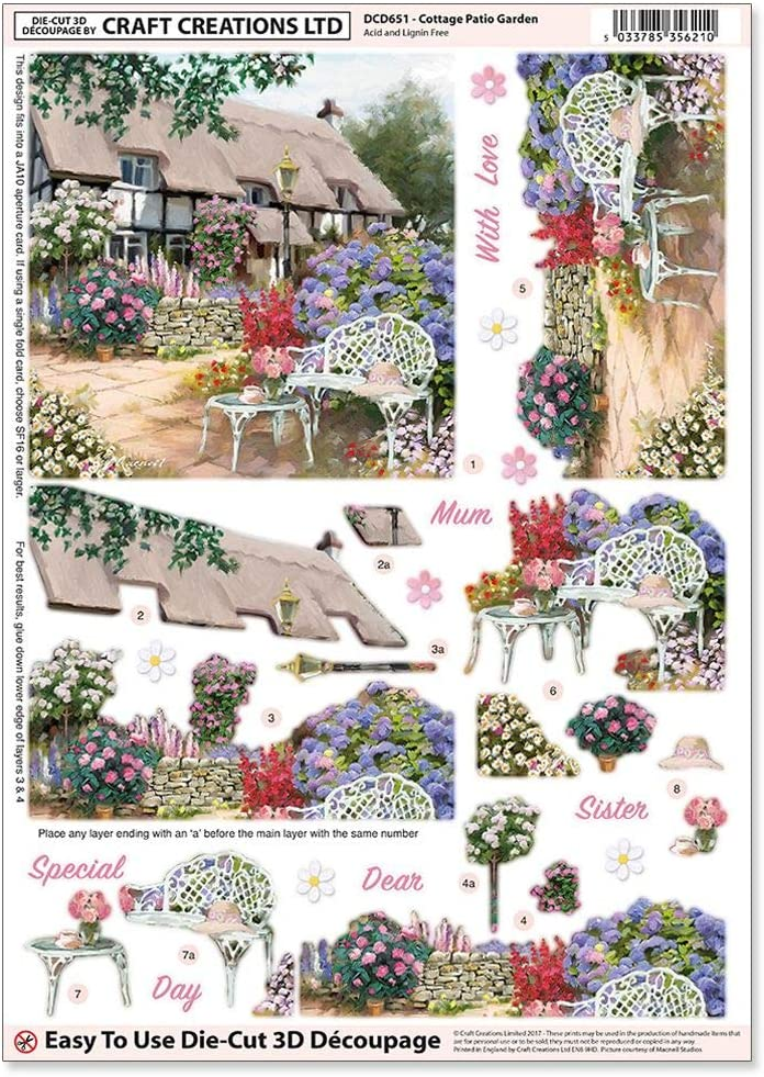 A4 210x297mm For Easter etc. DCD641 Wooden Crosses Easter Step-By-Step Layout Craft Creations Die-Cut 3D Decoupage