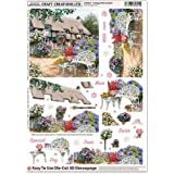 Craft Creations Die-Cut 3D Decoupage - DCD651 Country Thatched Cottage Patio Garden Flowers Floral - A4 210x297mm - Step-By-Step Layout - For Birthday, Mothers Day, etc.