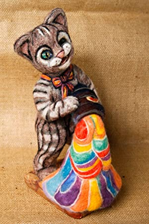 Juguete de fieltro hecho a mano muneco de peluche elemento decorativo gato