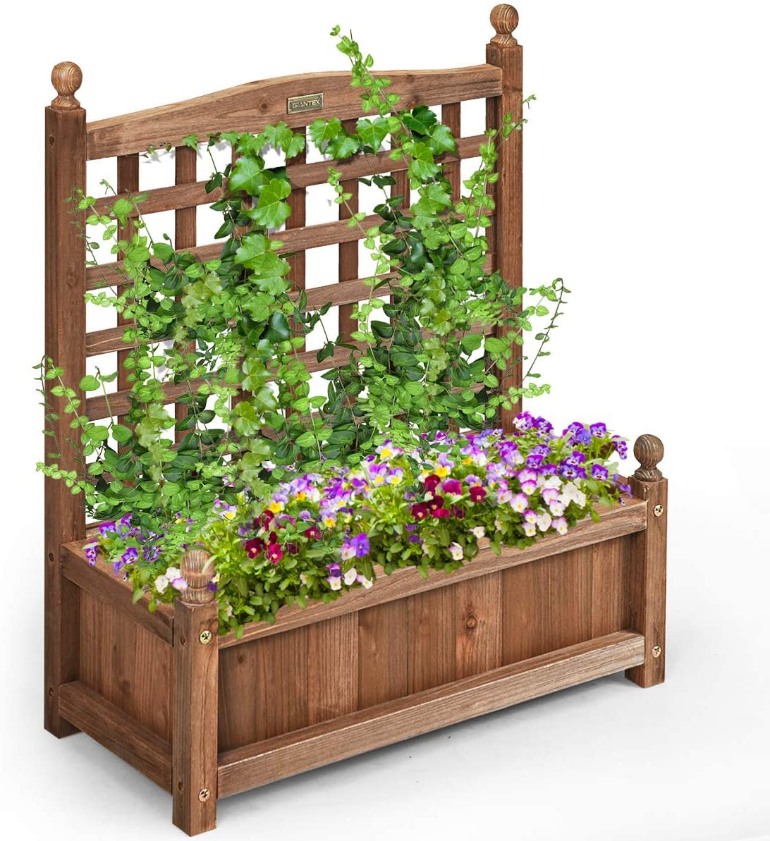 Giantex Wood Planter Free Standing Plant Raised Bed with Trellis for Garden or Yard 25 LX11 WX 30 H