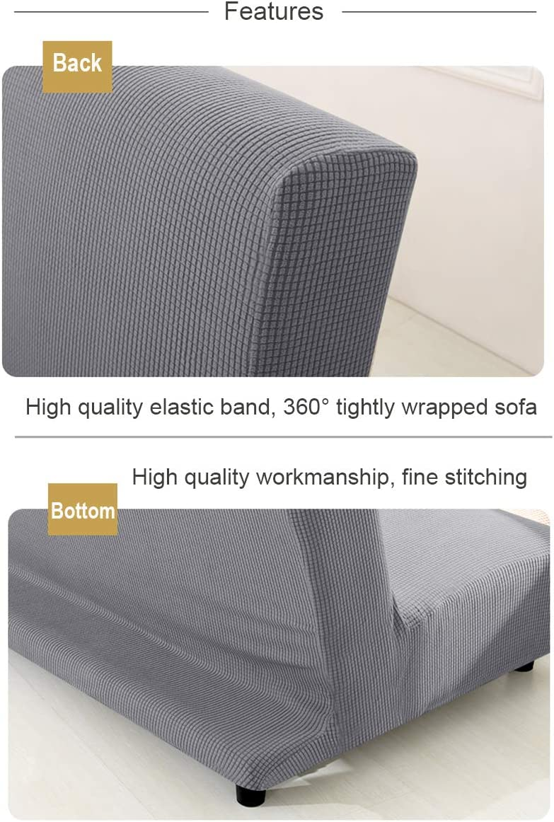 WINS Futon sofa bed cover stretch 3 seater Armless sofa cover slipcover futon couch cover full inclusive folding sofa bed cover Black