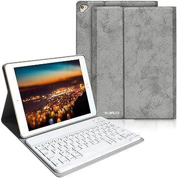 Bayao Teclado para iPad 9.7/2018/Air 2, Bluetooth para iPad 2018/2017 iPad 9.7/Air, teclado inalámbrico francés desmontable, diseño delgado y ligero ...