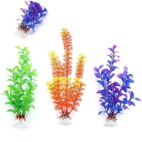 sourcing map Plantas plásticas para decoración Paisaje de Acuario de pecera Ventosa 3piezas