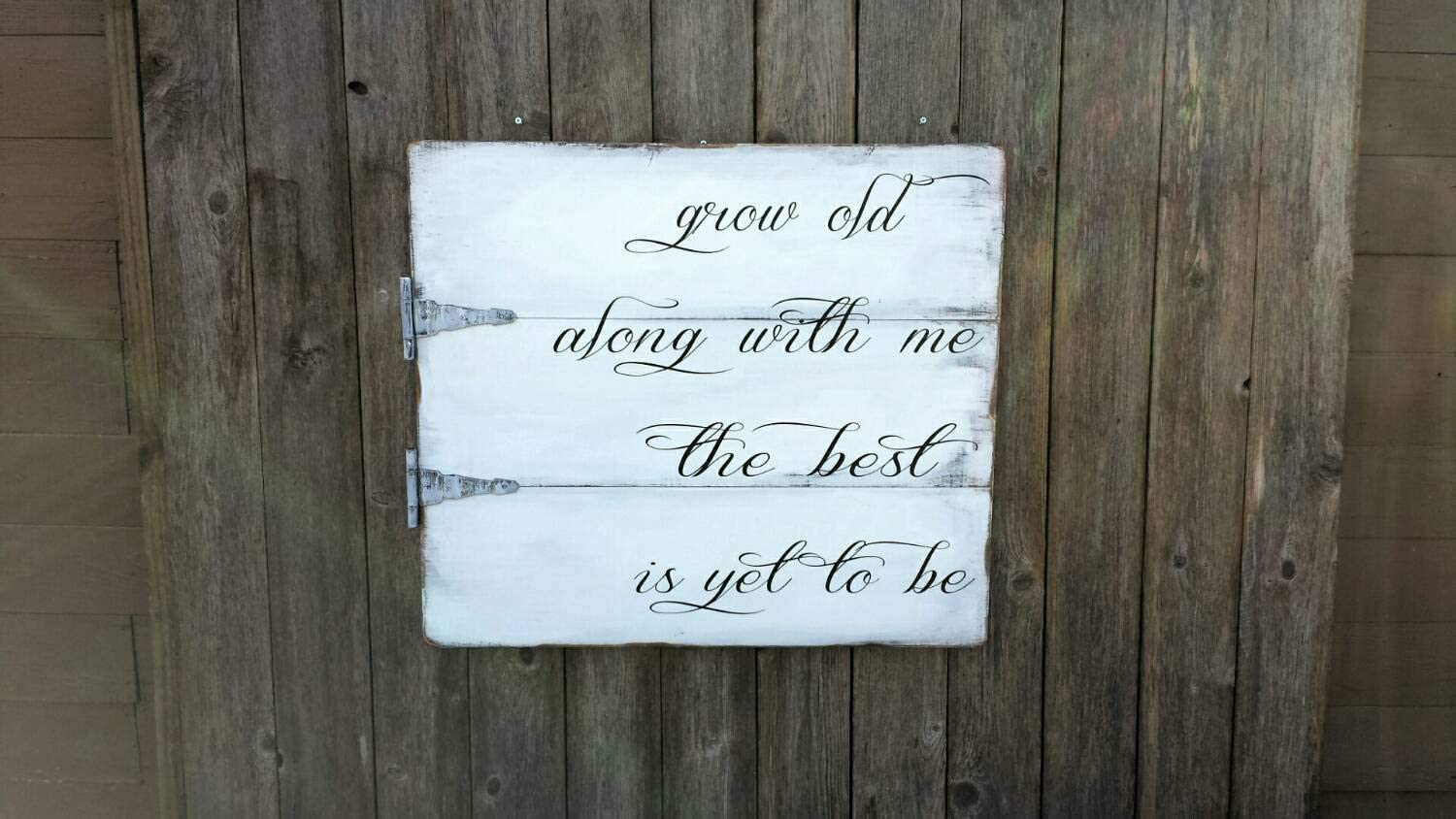 43LenaJon Grow Old Along with Me The Best is Yet to Be Large Sign with Hinges Rustic Wood Sign,Decor for Garden,Wooden Farmhouse Label