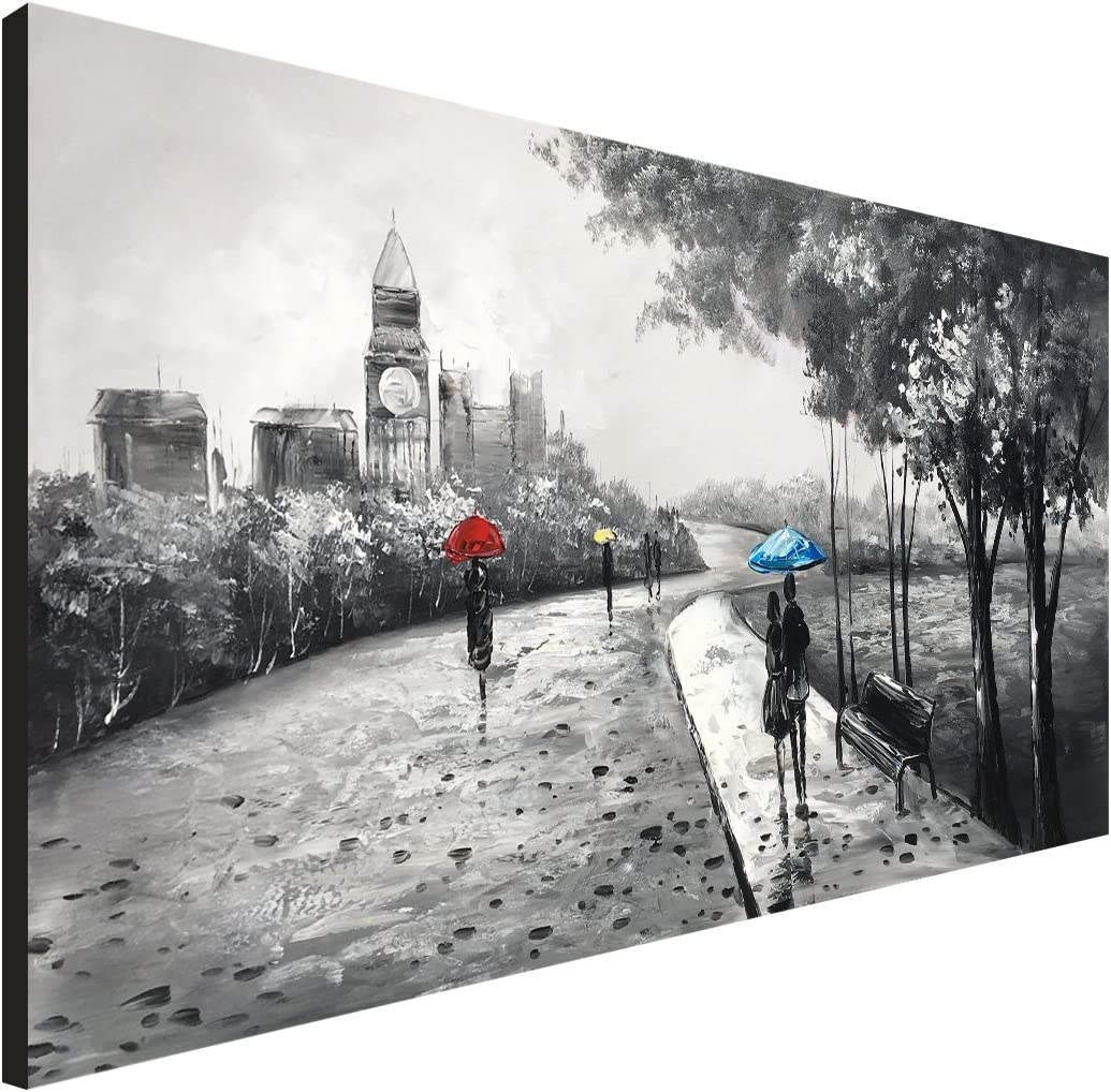 Everlands Art Black and White Oil Painting Landscape Hand Painted Blue Umbrella People Canvas Art Wall Decor London Couple Romantic Artwork Park Decoration Ready to Hang 48×24 inch