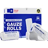 Gauze Rolls Pack of 24 – Premium Quality Lint and Latex-Free 4 inches x 4.1 Yards Conforming Stretch Bandages Designed…