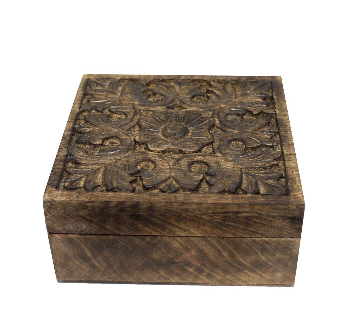Keyhomestore Caja INTARSIATA de Madera Decorado Blanco Estilo Oriental Muebles Indian - H10 x 22 x 22 cm: Amazon.es: Hogar
