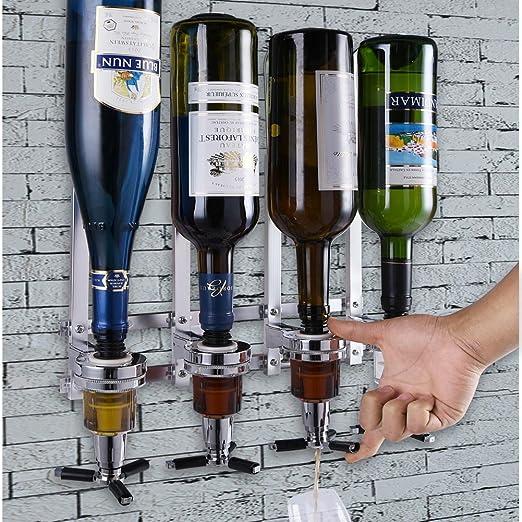 Bakaji Dispensador a Pared 4 Botellas Dispensador Dosificador Licor, Dispensador bebidas licor bar Butler, botellero de pared 4 plazas: Amazon.es