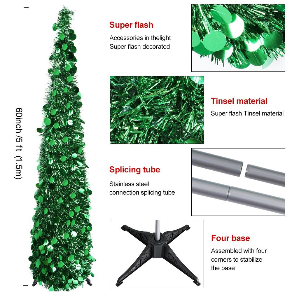 Amazon.com: Aytai 5ft Collapsible Pop Up Christmas Tree Green Tinsel ...