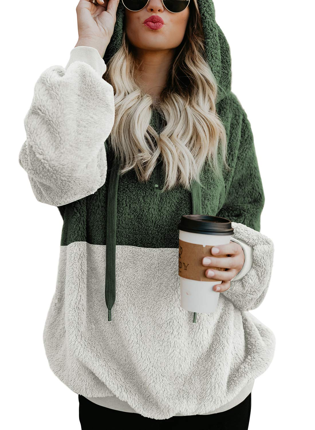 Dokotoo Womens Fashion Hoodies Casual Cozy Chunky Color Block Autumn Loose Fuzzy Sweatshirt Loose Sweater Outwear with Pockets Medium