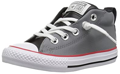 Converse Boys  Chuck Taylor All Star Street Leather Mid Sneaker Mason Black  White 82bf18ec5