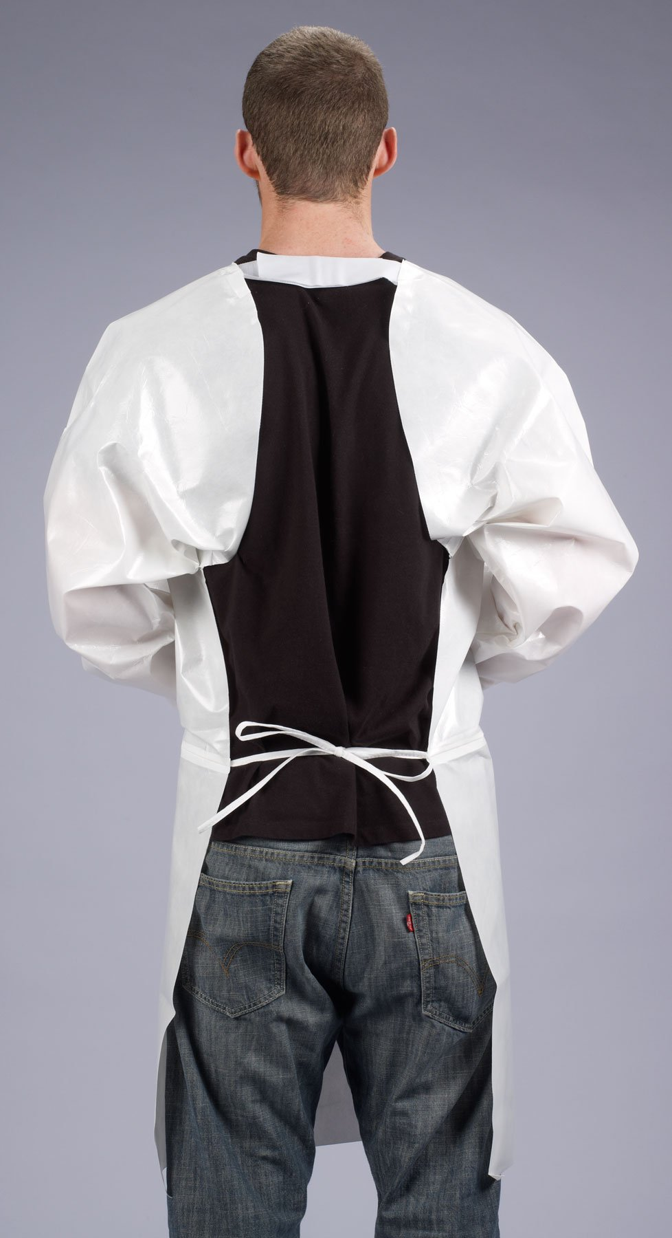 Lakeland ChemMax 2 Taped Seam Long Sleeve Apron, Disposable, Elastic Cuff, 2X-Large, White (Case of 12) by Lakeland Industries Inc (Image #2)