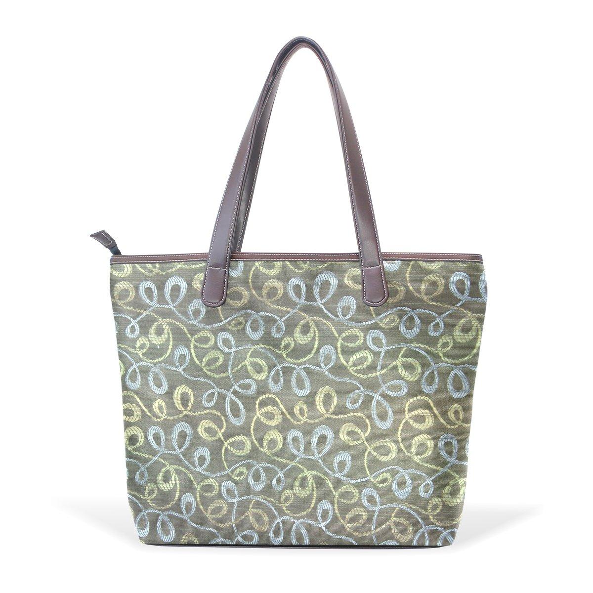 SCDS Retro Swirls 70S Brown PU Leather Lady Handbag Tote Bag Zipper Shoulder Bag