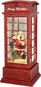 GenSwin Christmas Snow Globe Lantern Phone Booth Battery Operated Musical Lighted Water Snowing Glittering Snow Globe Lantern with Timer, Christmas Home Decoration and Gift