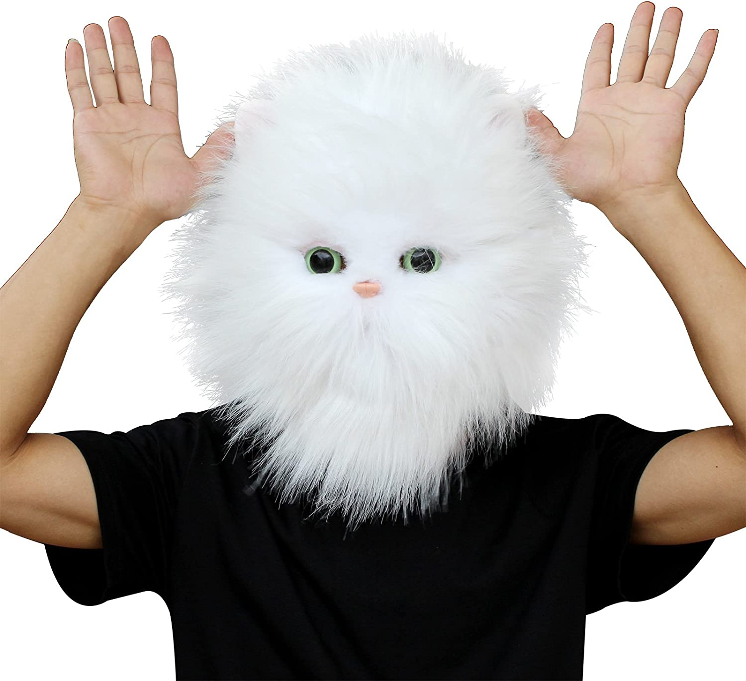 CreepyParty Deluxe Halloween Costume Party Latex Animal Cat Head Mask Persian Cat White