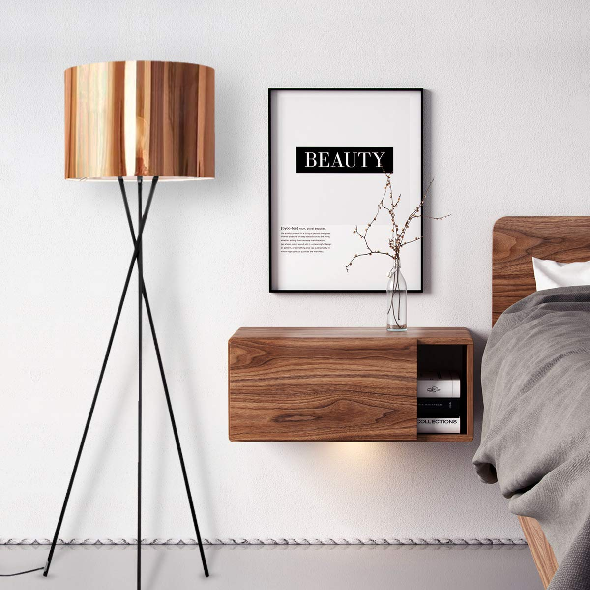 Modern Tripod Floor Lamp,Minimalist Floor lamp,with Beige Lining Gorgeous Copper Effect Light Shade Floor Lamps for Bedroom,Living Room,Office,Energy Saving Bedside Floor Lamp